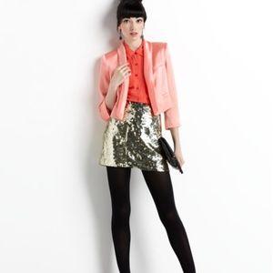 Alice + Olivia Alexe Gold Sequin Mini Skirt Size 4
